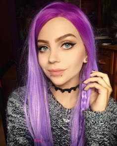 Wow sooo charming smile of this girl @lastfeastofthewolves she is very gorgeous and beautiful in her Graduated Lavender Purple Color Long Straight wig.  love it very much. Wig SKU: SN2-T2300/3815 #reddishbrown #wvayhair #syntheticwig #ombrewavyhair #fashion #blonde #grayish #purple #evahair #evahairofficial