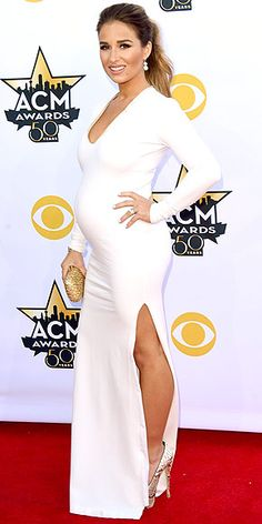 The Biggest, Best and Boldest Gowns of the Night | JESSIE JAMES DECKER | The mom-to-be (who just announced she's having a boy) shows off her growing bump in a white V-neck column with a thigh-high slit. Fun fact: She designed it herself, then liked it so much she decided to sell it through her line Kittenish for Kora Rae.