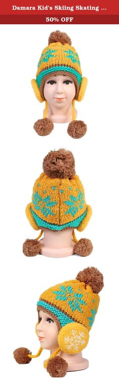 Damara Kid's Skiing Skating Warm Plush Caps Beanies,Yellow. This kid's cold weather beanie is well made with crochet woolen yarns and lining fluffy fleece . It features a pom pom on the top k2 hanging pom pom at earflaps and 2 false headphone decoration on the earflaps .The lining fleece material is so warm and thermal that it is suitable for cold winter outdoor activities.The color patchwork design offers lots of matching ways to cater to different tops and carfs.