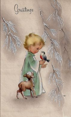 Free Printable Vintage Christmas Card – Child with Bird – From My Personal … - Christmas Cards