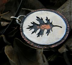 Large Oak leaf sterling silver copper by justplainsimple on Etsy, $50.00