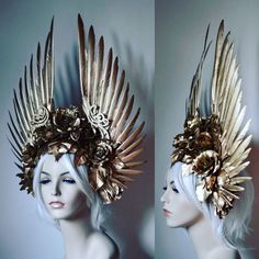 New work Golden Wings and Roses headdress Get here . - New work Golden Wings and Roses headdress Get here – DIY Home Decoration - Mode Inspiration, Character Inspiration, Accessoires Photo, Golden Wings, Maquillage Halloween, Fantasy Costumes, Boho Gypsy, Headgear, Costume Design