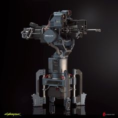 ArtStation - Gun Turret - Cyberpunk 2077, Filippo Ubertino Sci Fi Weapons, Fantasy Weapons, Weapons Guns, Combat Robot, Gun Turret, Hero Poster, Cyberpunk Aesthetic, Future Weapons, Gun Art