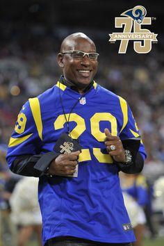 Running back Eric Dickerson was picked second overall by the Los Angeles Rams in the 1983 NFL Entry Draft.  Dickerson went on to play for the Rams from 1983-1987, and during his career he won the NFL rushing title four times, was a six-time Pro Bowler, a five-time All-Pro, was later named to the NFL 1980s All Decade Team, and was enshrined in the Pro Football Hall of Fame in 1999. Dickerson and other Rams legends were celebrated at the organization's 75th Anniversary game December 2, 2012.