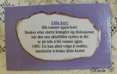 Karins-kortemakeri: Førstehjelp for ekteskapet Personalized Items, Cards, Maps, Playing Cards