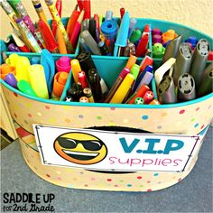 VIP supply caddy. Travels each week to the group that had best behavior, work, whatever criteria you set.