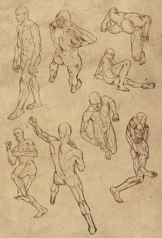 Hard perspective anatomy references for males by =ElephantWendigo on deviantART