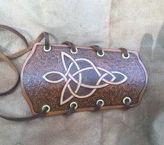 Brown Archer Vambrace/Bracer - Celtic knotwork Arrowhead/Broad head Design…