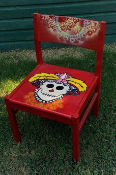 Painted Chair -  Dia de los Muertos Sugar Skull - Spray painted doilies on back