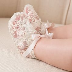 Jessica Lace Booties • Champagne lace • Ivory silk ribbon ties • Pastel floral applique with pearl beading • Imported • Includes - Booties Sizing 3-6mo - Foot up to 3.75 9-12mo - Foot up to 4.25