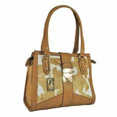 Olha que fashion ficou este modelo clássico de bolsa aderindo a estampa Vaca malhada!   Bolsa Fellipe Krein - FK19659   Vivi Tonin - Vaca Caramelo-Branco Whisky