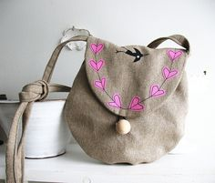 Linen purse with hearts | Flickr - Photo Sharing!