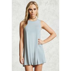 Forever21 Knit Mini Dress (41 RON) ❤ liked on Polyvore featuring dresses, dusty blue, forever 21, sleeveless short dress, knit mini dress, round neck dress and mini dress