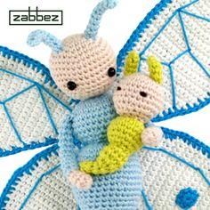 Butterfly Bree and Caterpillar Calin amigurumi crochet pattern by Zabbez