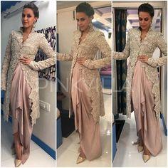 Yay or Nay : Neha Dhupia in Anamika Khanna Indian Bridal Lehenga, Indian Bridal Outfits, Indian Fashion Dresses, Indian Party Wear, Indian Wear, Lehenga Style, Bollywood Fashion, Bollywood Saree, Desi Clothes