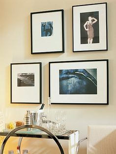 """When hanging a diverse collection of artwork it's easy to present a unified front by allowing the same spacing between each print. A safe rule of thumb is about 4"""" between and 4"""" above every piece. Keep it consistent and you'll look like a pro!  Picture perfect   Sarah Richardson Design"""