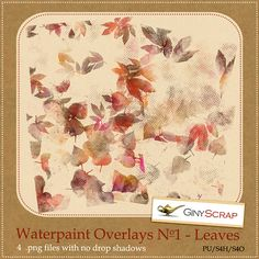 Waterpaint Overlays No.1 - Leaves by Giny Scrap