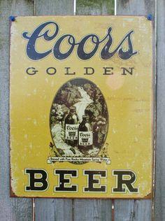 Pin Coors Golden Beer bottle Tin Metal retro Sign Man Cave Bar Garage Lager Stubby Bottle Brew 15A