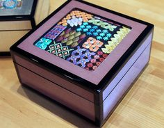 Purple Tulipwood Lacquer box including Needlepoint by ADORNBYORNA, $140.00