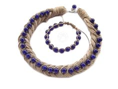 Linen bracelet and necklace with glass beads Glass Beads, Lens, Bracelets, Jewelry, Jewlery, Jewerly, Schmuck, Klance, Jewels