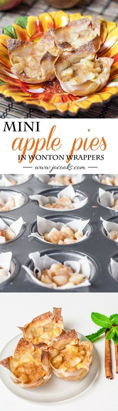 Mini Apple Pies in Wonton Wrappers