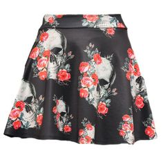 Love this cute, relaxed skirt! Skulls and roses make me want it though! Liv Skull Skater Skirt