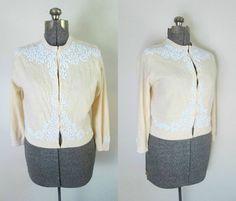 Cashmere Beaded Cardigan Sweater Vintage Mid by rileybellavintage, $88.00