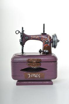 Miniature Purple sewing machine Vintage Decoration by ElCidVintage, $38.20