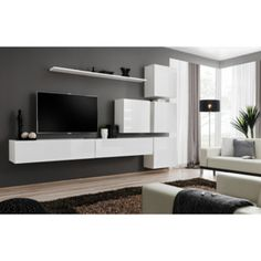 Modern furniture for living room Living Room Wall Units, Living Room Designs, Living Room Furniture, Condo Living, Home And Living, White Tv Stands, Wall Shelving Units, Modern Wall Units, Colorful Apartment