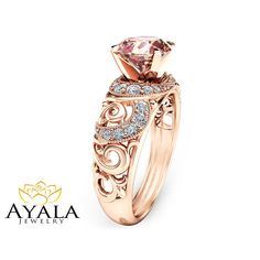Solid 14K Rose Gold Engagement Ring Unique by AyalaDiamonds