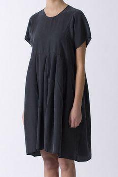 Kristensen du Nord 108 Silk navy Dress. Round neck, cap sleeve, four button back closure.