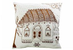 'Allem Studio' Madhubani Hut Pillow. Intricate detail; really like this!