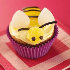 Bumblebee Banana Cupcakes Recipe -Make a beeline for these easy, cute-as-a-bug cupcakes that are simply irresistible. They're wonderful for school treats, kids' parties, or even outdoor summer events. —Beatrice Richard, Posen, Michigan