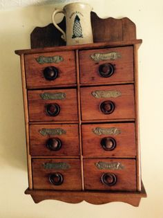 Antique 1800s Spice Cabinet   8 Drawers With Metal Lettering.