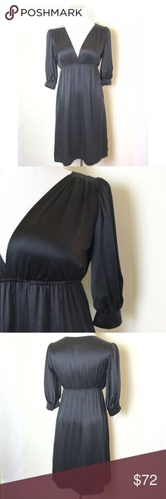 Gorgeous little black dress This flirty silk dress is perfect for date night! Deep v neck and empire waist with 3/4 sleeves. Excellent like new condition. Amanda Uprichard Dresses