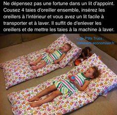 Vous cherchez un lit d'appoint facile à transporter pour vos enfants ? En voici un pas cher et fait maison que vos enfant vont adorer. Découvrez l'astuce ici : http://www.comment-economiser.fr/lit-d-appoint-pas-cher-enfants.html