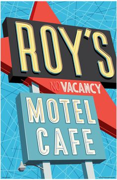 Roy's Motel Cafe Travel Poster Print by RedRobotCreative on Etsy