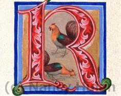 Alfabeto letra R, Medieval iluminado letra R, pintado inicial R, alfabeto de Medieval, Renacimiento letra L Fine Art Print