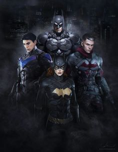 The 'Bat Family'. Bruce Wayne / Batman (top). clockwise: Jason Todd (Red Hood), Barbara Gordon (Batgirl) and Dick Grayson (Nightwing)