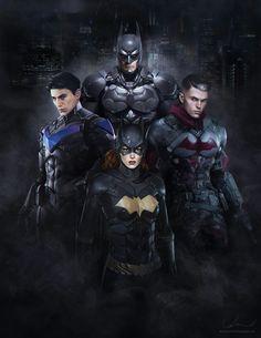 The 'Bat Family'.  Bruce Wayne / Batman (top).  clockwise: Jason Todd (Red Hood), Barbara Gordon (Batgirl) and Dick Grayson (Nightwing)