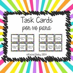 Task Card Set - Por vs Para