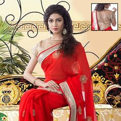 #Red #Saree with Combo Blouse