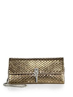 Elizabeth and James Cynnie Snake-Embossed Wallet on a Chain