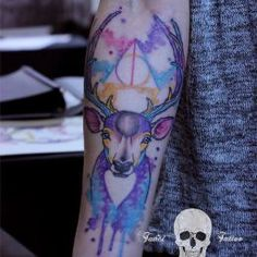 Deathly hollows watercolor, love it but maybe just in patronus blue