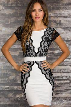 White Elegant Cocktail Mini Dress with Lace Trim