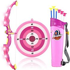 MagicWe Bow and Arrow Toy Set for Kids Archery Bow Comes with 6 Suction Cups Arrows Target with LED Flash Lights Indoor Outdoor Toys Garden Practice Hunting Series Boys Girls Age 3 Years and Up Outdoor Games For Kids, Outdoor Toys, Indoor Outdoor, Toys For Girls, Kids Toys, Toy Bow And Arrow, Archery Set, Disney Princess Toys, Nerf Toys
