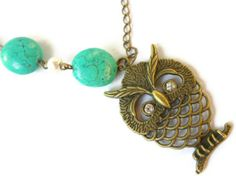 Asymmetric Antique Brass Long Owl Necklace With Turquoise Stone, $25.00
