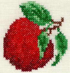 Apple- color picture only Cross Stitch Kitchen, Mini Cross Stitch, Cross Stitch Rose, Cross Stitch Flowers, Cross Stitch Charts, Cross Stitch Pattern Maker, Modern Cross Stitch Patterns, Cross Stitch Designs, Cross Stitching