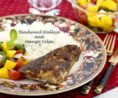Enjoy this fabulous meal of Blackened Walleye served with a luscious Mango Salsa and fluffy Spiced Basmati Rice. Only 30 minutes to prepare.