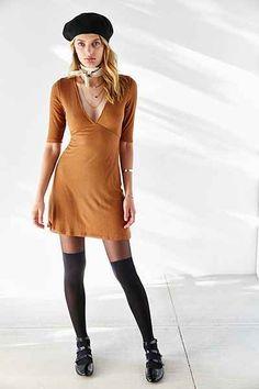 Silence + Noise Rib-Knit Deep-V Dress - Urban Outfitters